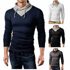 Fashion Men's Casual Long Sleeve Turtleneck Knit Sweater Slim Fit Tops Blouse