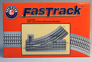LIONEL FASTRACK 031 LEFT HAND MANUAL SWITCH o gauge train turnout track 6-81252