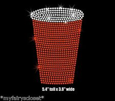 5.4 inch red cup iron on rhinestone transfer beer pong applique patch