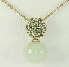 Peridot jade pendant necklace 14K yellow gold 9.2 MM round drop .60CT rope chain