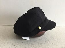 (NWT) Women's August Black Artisanal Hat W/Gold Button Accents ONE SIZE
