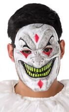 Mens Ladies Grinning Scary Halloween Circus Jester Mask Fancy Dress Costume
