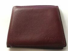 Coach Men's Red Bifold Wallet Leather Bi fold New York F75206 Cherry