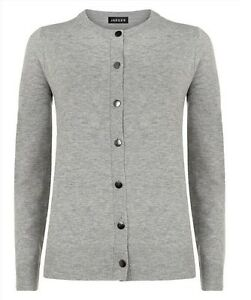 Jaeger Grey Button Cardigan Wool Cashmere Blend XS S 8 10 12 BNWT RRP £120