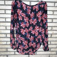 Ann Taylor Loft Womens Long Sleeve Pink Blue Floral Blouse Size Small