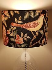 LAMPSHADE 30cm ART DECO WILLIAM MORRIS STYLE BIRDS FLORAL CHINTZ BROWN HERITAGE
