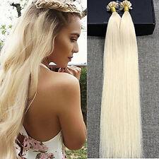 #60 platinum blonde Nail U-Tip Human Hair Extensions Prebonded Keratin 7A Weave