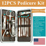12Pcs Manicure Pedicure Nail Toe Care Stainless Steel Cutter Clippers Kit Set