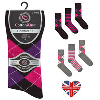 LADIES NON ELASTIC NATURAL COTTON ARGYLE SOCKS, SOFT COMFORT, LOOSE TOP DIABETIC