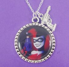 HARLEY QUINN CHARM NECKLACE batman emo scene dc joker gun retro comic kitsch red