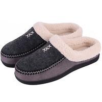 Men's Memory Foam Micro Woolen Plush Fleece Slippers Slip On Clog House Shoes