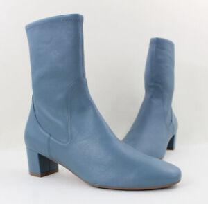 Stuart Weitzman NWOB Cerulean Blue Leather Mid Calf Heeled Boots Size 8