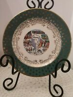 YELLOWSTONE SOVENIR VINTAGE PLATE BEAUTIFUL GREEN GOLD NATIONAL PARK