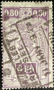 Stamp Belgium SGP384 1923 0.80Fr Railway Stamps Used