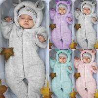 Newborn Baby Fleece Snowsuit Boys Girls Cartoon Bear Warm Hooded Romper Jumpsuit