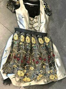 Mondkini Luxus Dirndl 40 Steine/Pailletten passende Bluse 38 + Schürze NEUw TOP