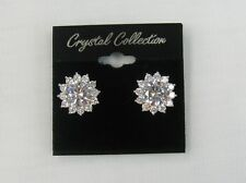 Silver Plated Clear Crystal Cubic Zirconia Clip On Earrings # 526 Bridal Prom
