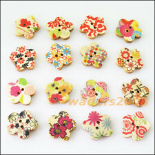 50 New Mixed Wooden Star 2 Holes Wood Buttons Fit Sewing Or Scrapbook 17.5mm