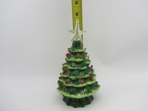 """VTG SMALL CERAMIC CHRISTMAS TREE WITHOUT BASE 8"""" TALL GREEN MULTI COLORED LIGHTS"""