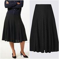 "Ex M&S Black Textured Midi Skirt Size 8- 22 Length R 27"" L 30"""