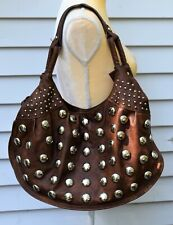 Hananel Womens Handbag Brown Jewel Studded Leather XL Purse Stud Shoulder Bag