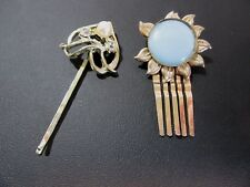 TWO VINTAGE HAIR CLIPS BOBBY PIN SMALL BLUE MOONGLOW RHINESTONE FAUX PEARL LOT