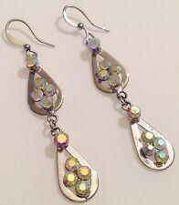 boucles d'oreilles percées rétro rhodié couleur argent pampille cristal 463