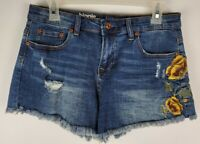 Hippie Laundry Womens Size 30 Distressed Frayed Floral Denim Blue Jean Shorts