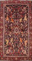 Antique Floral Bidjar Animal Design Handmade Area Rug Wool Oriental Carpet 4x7