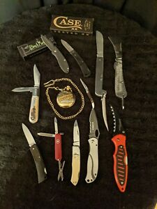 Lot of 12 pocket knives and pocket watch. Case xx, CRKT, Schrade USA, Benchmark