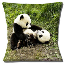 """NEW Novelty Cute Two Young Giant Pandas Play Fighting 16"""" Pillow Cushion Cover"""