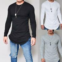 Classic Men Slim Fit V Neck Long Sleeve Muscle Tee T-shirt Casual Tops Blouse US