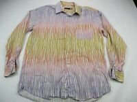 Mens Multi-color Stripes Saint Croix Shirt Button Front Italy Dress Plaid Large