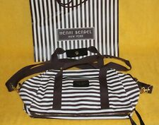 Henri Bendel New York Signature Large Canvas Tote Bag Brown & White Stripes