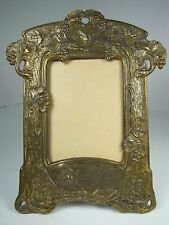Antique Art Nouveau Picture Frame Lovely Floral Vines Trees Child Birds Berries