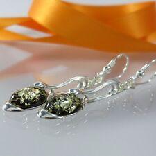 A - 286 Orecchini Argento 925 gioielli succinico Amber VERDE insolita design