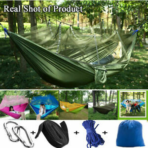 New Double Outdoor Person Travel Camping Hanging Hammock Bed Wi Mosquito Net AU