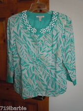 NJM Collection women's 3/4 sleeve snap-front lined linen accented blouse size 14