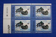 U.S. (Wa01) 1986 Washington State Duck Stamp Fos Plate # block of 4 (Mnh)