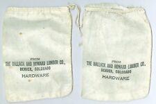 2 Vintage Hallack and Howard Lumber Co., Denver Colorado Hardware Cloth Bags 4X6