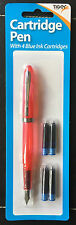 INK CARTRIDGE FOUNTAIN PEN WITH 4 INK CARTRIDGES - PINK