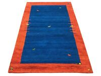 4X6 Fine Twisted Wool Gabbeh Area Rug Blue Hand-Knotted Goat Camel Design Carpet
