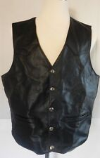 Mens Black Authentic Leather Harley Motorcycle Biker Vest Silver buttons Size XL