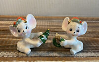 Set of 2 Vintage Mid Century Napcoware Christmas Mice Candle Climbers