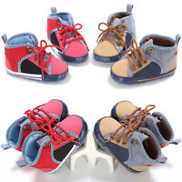 Toddler Girls Boys Lace up Shoes Newborn Baby Prewalker Soft Crib Sole Sneakers