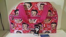 "NEW! Betty Boop canvas Duffel 19"" travel Bag Shoulder overnight handbag Pink"