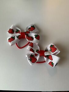 Lot 2 Strawberry Dainty Pigtail Hair Bows Set Fits Baby to Toddler
