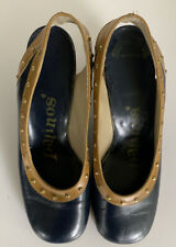 Vtg 1970 Patinos Navy & Gold Leather Platform Shoes 3� Heels-Sz 6 Cool!