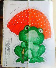 Vintage Green Frog w/ Green Umbrella Cut & Sew Pillow Fabric Panel Uncut 70's