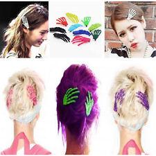 10 PCs Cute Creepy Plastic Skeleton Hand Hair Clip Hairpin for Women Girls LO